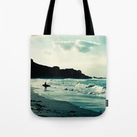 surf Tote Bags featuring Surf by Hilary Upton