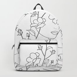Minimal Line Art Woman with Wild Roses Backpack
