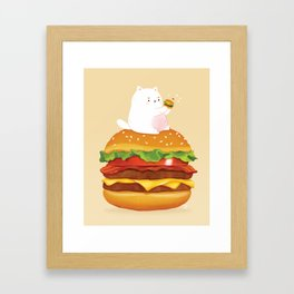 Cat & Burger Framed Art Print