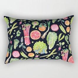 Spring Harvest Pattern Dark Rectangular Pillow