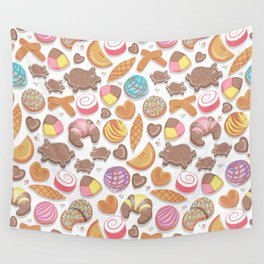 Mexican Sweet Bakery Frenzy // white background // pastel colors pan dulce Wall Tapestry