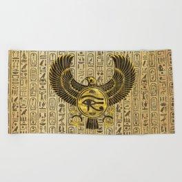 Egyptian Eye of Horus - Wadjet Gold and Wood Beach Towel