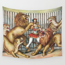 The Lion Tamer - Vintage Circus Art, 1873 Wall Tapestry