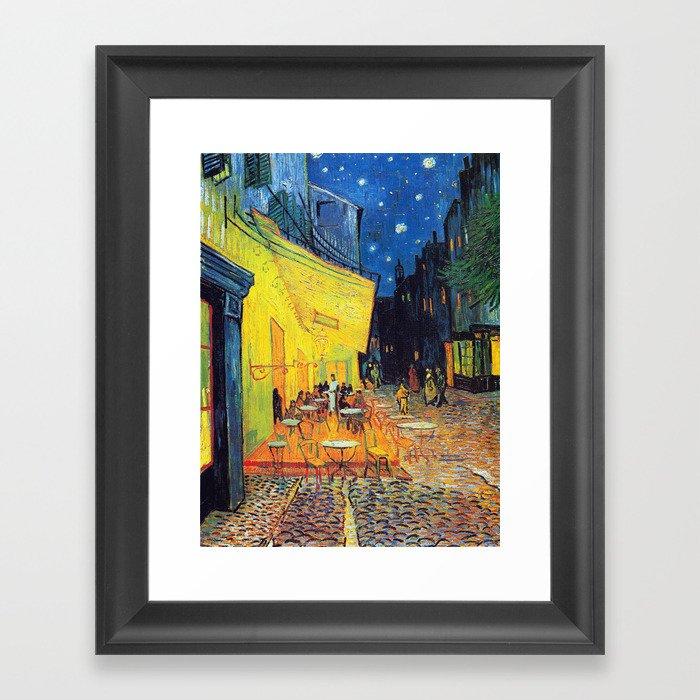 Vincent Van Gogh - Cafe Terrace at Night (new color edit) Gerahmter Kunstdruck