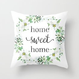 Home Sweet Home Floral Wreath Throw Pillow