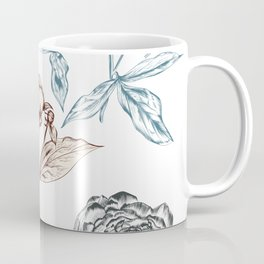 Botanical vector hand drawn illustration with peony flower in vintage style Coffee Mug
