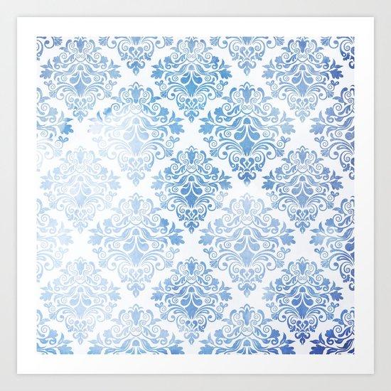 Blue Watercolor Pattern 04 Art Print