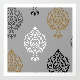 Orna Damask Art I BW Grays Gold Art Print