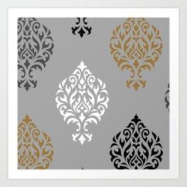 Orna Damask Art I BW Grays Gold Art Print
