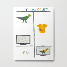 T-Rex T-Account Accounting Art Metal Print