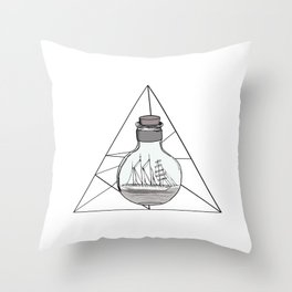Graphic . Geometric Shape Black Ship in a Bottle . Triangle Throw Pillow