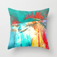 surfing Throw Pillows featuring Surfing by Fernando Vieira