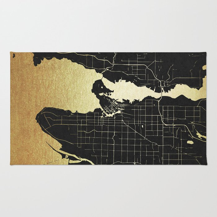 Vancouver canada black and gold map rug by mapmaker society6 vancouver canada black and gold map rug gumiabroncs Image collections