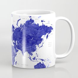 """Navy blue watercolor world map with cities, """"Ronnie"""" Coffee Mug"""