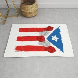 Raised Fists For Puerto Rico - Boricua Flag Rug