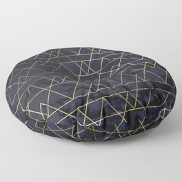 Modern Deco Gold and Marble Geometric Mountains on Navy Blue Floor Pillow