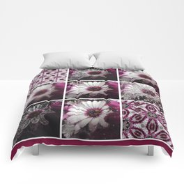 White and Magenta African Daisies Graphic Collage Comforters