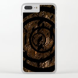Abstract pattern texture geometric circle background metalic golden painting Clear iPhone Case