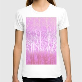 Frosted Winter Branches in Misty Pink T-shirt