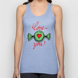 I love you (green) written in red Unisex Tank Top
