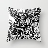 andreas preis Throw Pillows featuring Black geometry by Andreas Handgruber by Artometrie.com