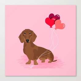 Dachshund dog breed heart balloons valentines day gift for pure breed lovers Canvas Print