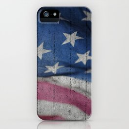 USA Flag concrete wall iPhone Case
