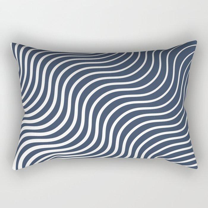 Whisker Pattern - Navy #583 Rectangular Pillow