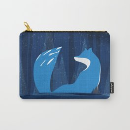 Wintery Blue Forest FOX Design Carry-All Pouch