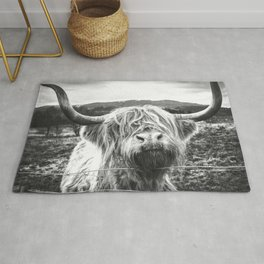 Highland Cow Nose Barbed Wire Fence Black and White Rug