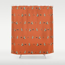 Flying Birds Upon Sunset Shower Curtain
