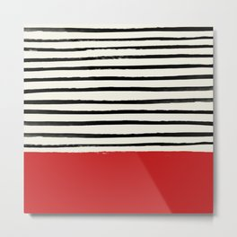 Red Chili x Stripes Metal Print