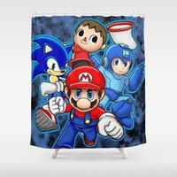 super smash bros Shower Curtains featuring Super Smash Bros  by Blaze-chan