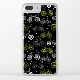 Bicycles cycle pattern black and white by andrea lauren Clear iPhone Case