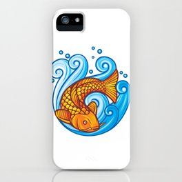 koi carp fish in the sea waves (japanese or chinese inspired design) iPhone Case