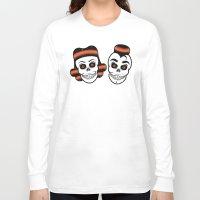 rockabilly Long Sleeve T-shirts featuring Spooky Rockabilly Skulls. by Sparganum