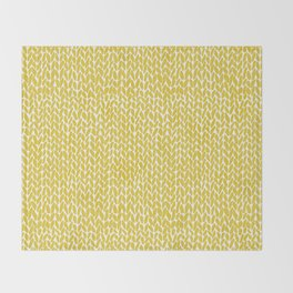 Hand Knit Yellow Throw Blanket