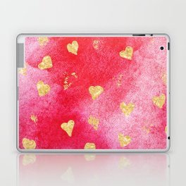 Red And Gold Watercolor Hearts Textures And Patterns Laptop & iPad Skin