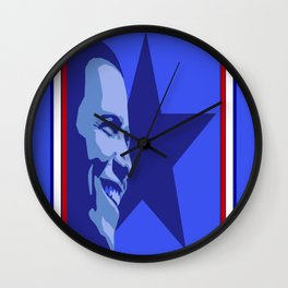 Red, White and Blue Obama Wall Clock
