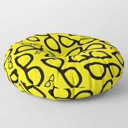 Smart Glasses Pattern - Black and Yellow Floor Pillow