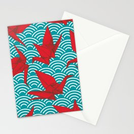 Origami red paper cranes sketch. burgundy maroon line Nature oriental Stationery Cards