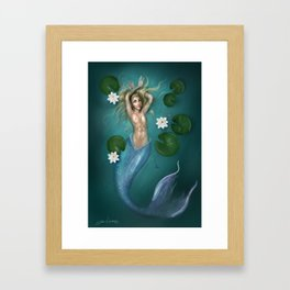 Lilys and the Mermaid Framed Art Print