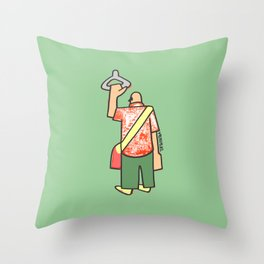 a man going to work to fill up the voids Throw Pillow
