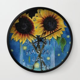 Lightning Bugs and Sunflowers Wall Clock