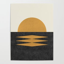 Sunset Geometric Midcentury style Poster