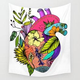 Corazón con flores Wall Tapestry