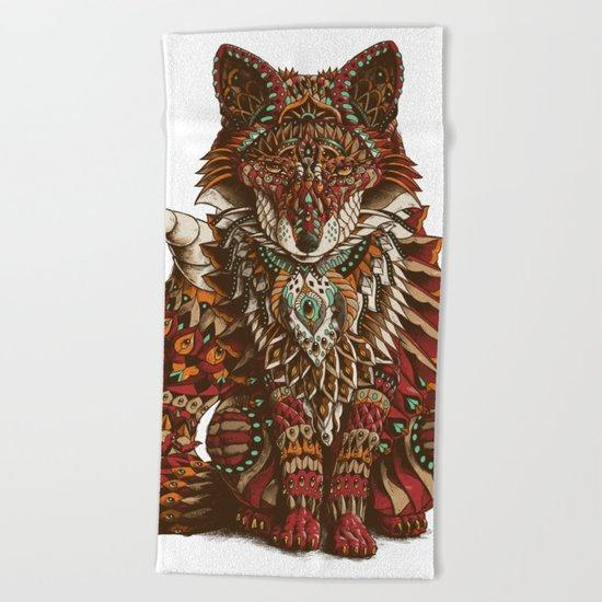 Red Fox (Color Version) Beach Towel