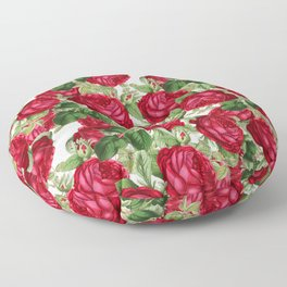 Crimson Rose Bower Floor Pillow