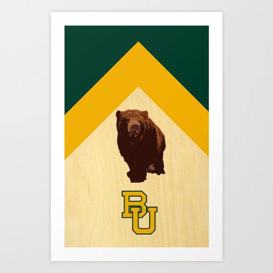 Baylor University - BU logo with bear Art Print