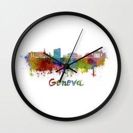 Geneva skyline in watercolor Wall Clock